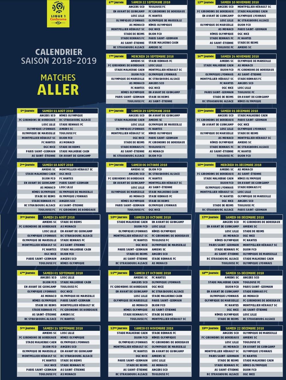 Calendrier Ligue 1 Nice.Calendrier 2018 2019 Ligue 1 Olympique De Marseille